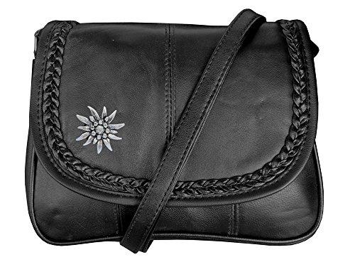 Trachten Tasche Handtasche mit Edelweiss Echt Leder Schwarz (Tracht Alpine)