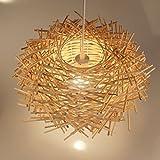 ZQL Lampada da tavolo moderna moderna in tessuto di legno, Artigianato sferico di bambù Artigianato da balcone Nido di uccello lampadario, lampada E27 Plafoniera decorativa ( Size : M )