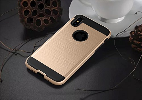 iPhone X Hülle, MOONMINI 2 in 1 Weich TPU Silikon Schale + Hard PC Dual Layer Hybrid Handy Tasche Case Slim Stoßfest Back Schutzschale Schutzhülle für iPhone X (2017) Grau Dunkelgrün