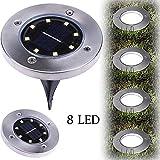 sunnymi 8 LED Solar Leistung Begraben Licht Beleuchtung Warmweiß Boden Lampe Draussen Kugelleuchte Solarlampe Außen Kieselstein Gartenleuchten Pfad Weg Garten (Warmweiß, LED)