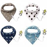 4er Baby Dreieckstuch Lätzchen Spucktuch Halstücher mit Schnullerkette und Verstellbaren Druckknöpfen Multifunctional, Super Absorbent & Soft Baumwoll , von Future Founder