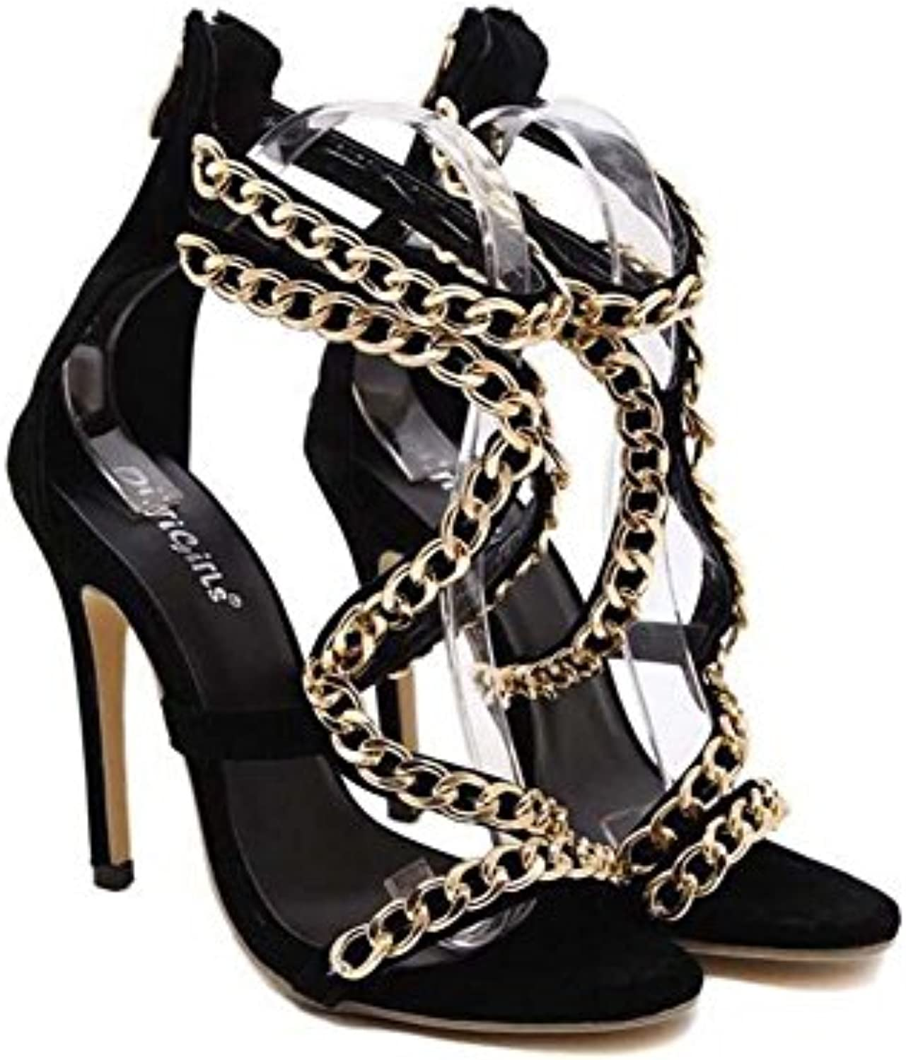 e3f7900152e1 Pump 12cm 12cm 12cm Stiletto Scarpin High-Heeled Hollow Metal Chain  Decoration Sandals Dress Shoes Court Shoes Women Simple... B071S6GX14  Parent 587c37
