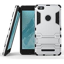 Qiaogle Teléfono Case - Shock Proof PC Hibrida Stents Carcasa Cover para Xiaomi Mi4C / Mi 4I (5.0 Pulgadas) - HK05 / Silver