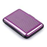 Porte Carte Crédit visite Portefeuille Aluminium Rigide sécurité violet