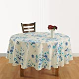 #10: ShalinIndia Handmade Cotton Round Tablecloth Indian home Décor Floral Print 86 Inches 6 Seater