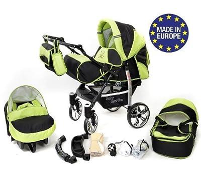 Baby Sportive - Sistema de viaje 3 en 1, silla de paseo, carrito con capazo y silla de coche, RUEDAS GIRATORIAS y accesorios, color negro, verde