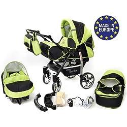 Sportive X2 - Landau pour bébé + Siège Auto - Poussette - Système 3en1 + Accessoires (Système 3en1, noir, vert)