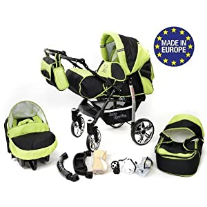Sportive X2, 3-in-1 Travel System incl. Baby Pram with Swivel Wheels, Car Seat, Pushchair & Accessories (3-in-1 Travel System, Black & Green)   8