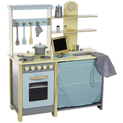 Ultrakidz Komfort-Spielküche aus Naturholz, große Küchenzeile inkl. 13-teiliger Kochausstattung
