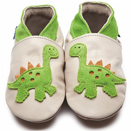 Inch Blue - Chaussures de cuir souple - Dinosaure en jaune citron et crme 12-18m Beige