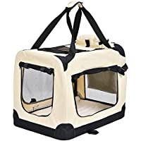 Jalano Transportbox für Hunde Hundebox faltbar Transporttasche mit Hundedecke, Größe:M