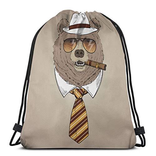 Handgezeichnete Porträt des Bären In Fedora Hut, Krawatte, Sonnenbrille und Zigarre Drawstring Bulk Bags Cinch Sacks Rucksack Pull String Taschen 14,2 x 16,9 Zoll