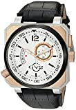 GV2 by Gevril XO Submarine Mens Swiss Quartz Black Leather Strap Watch, (Model: 4522)