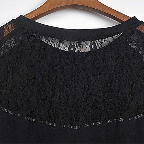 T-Shirt a Pipistrello in Maglia a Maniche Lunghe in Pizzo da Donna Nero