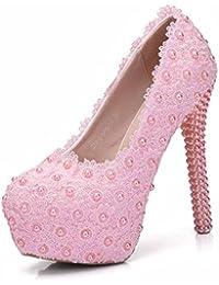 Mujer Cordón Perla Boda Zapatos Romántico Tacón Alto Novia Zapatos Encanto Plataforma Zapatillas Blanco Grande...