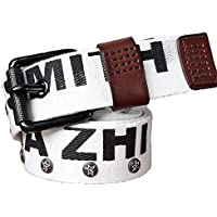 Carta Cinturón Cinturón Lienzo Simple Ocio Jóvenes Estudiantes Blancos  Hebilla Cinturon Blanco De ... 51ee8be827f