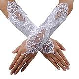 Cosanter Fingerlose Brauthandschuhe Satin Spitze Braut Handschuhe Spitze Hochzeit Satin Gloves für Braut Abend Party weiß