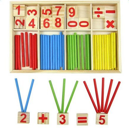 Demarkt Wooden Early Education Puzzle Toys Set Colorful Sticks Educational Blocks Children Mathematical Educational Toys for Age 3