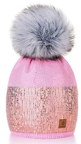 Damen Wurm Winter Style Beanie Strickmütze Mütze mit Fellbommel Bommelmütze Hat Ski Snowboard Pelz Bommel Pompon Kleine Kristalle Sequins Crystals 4sold (Rosa)