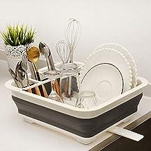 Plegable plato escurridor con cubiertos sostenedor cesta vajilla estante  portátil TPR almacenamiento cesta gris b59eda23e42c