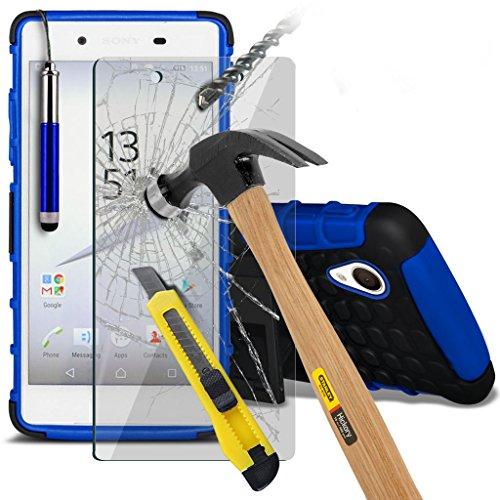 Fall für <b>      Sony Xperia Z5 hülle     </b>     Case Universal Car Phone Halter Halterung Armaturenbrett und Windschutzscheibe für iPhone y i -Tronixs Shock proof +Glass (Blue)