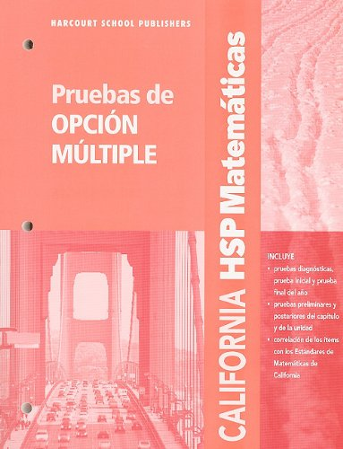 Harcourt School Publishers Spanish Math: Multiple Choice Assessment Spanish Math Grade 4