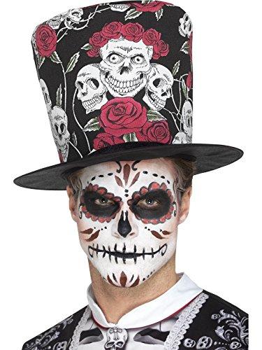 SMIFFY 'S 48035Tag der Toten Totenkopf und Rose Top Hat, mehrfarbig, one size