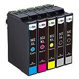 LxTek Compatible Remplacer pour Epson 502 502XL 502 XL Cartouches d'encre pour Epson Expression Home XP-5100 XP-5105, Workforce WF-2860DWF WF-2865DWF Imprimante (2 Noir, 1 Cyan, 1 Magenta, 1 Jaune)