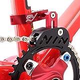 Guide de chaîne de vélo VTT Protecteur de vélo de route VTT Tendeur de chaîne avec design creux pour pignon à disque unique, cadran avant lisse, rouge