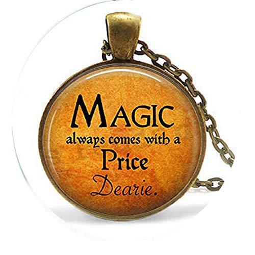 bab Halloween-Kostüm-Schmuck - Magic Always Comes a Price Dearie - Rumpelstilzin-Zitat - Once Upon a Time - Magic Spell Halskette, Bibel-Anhänger