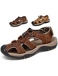 Sommer Sandalen Männer Leder Strand Schuhe Baotou Casual Großformat Outdoor Casual Fisherman Strap Wandern Sandalen
