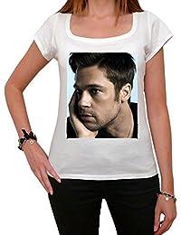 Brad Pitt Sexy, tee shirt femme, imprimé célébrité,Blanc, t shirt femme,cadeau