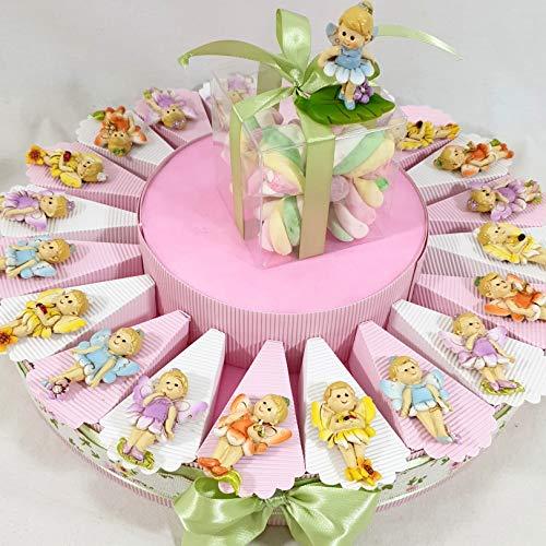 Bomboniere per Battesimo Nascita Compleanno Bambina a Torta con Magnete Fata con Confetti