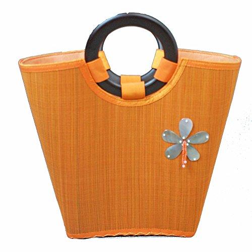 Bamboo Bag MANILA orange Handbag made of bamboo Raffia Bag Straw Bag from Asia