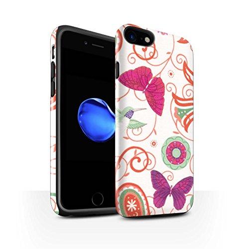 STUFF4 Glanz Harten Stoßfest Hülle / Case für Apple iPhone 8 / Grün/Rot Muster / Frühlingszeit Kollektion Rosa/Rot