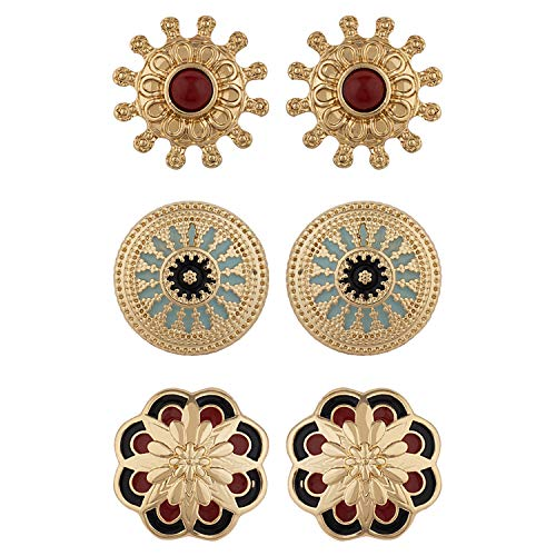 Voylla Multicolour Alloy Ethnic Beauty Studs Jewellery for Women - Set of 3