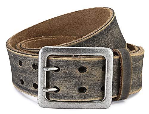 Eg-Fashion Ledergürtel Herren Büffelleder Braun mit stylischer Doppeldorn-Schließe I 4,5cm breiter Gürtel I Gürtel Herren verschiedene Längen (Bundweite: 105cm/Gesamtlänge: 120cm)