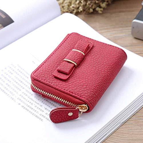 Geldbörse Leder RFID Schutz,Einfarbig Brieftasche Portemonnaie Clutches Klein Wallet Reise Casual Geldbeutel mit Innentasche Reißverschluss Passkartenfach Kartenhalter für Männer Frauen Damen