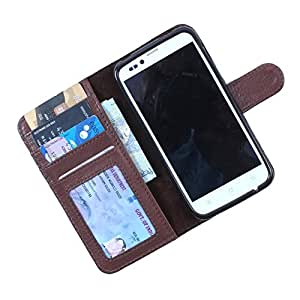 Dooda Genuine Leather Wallet Flip Case For Karbonn A27+ (BROWN)