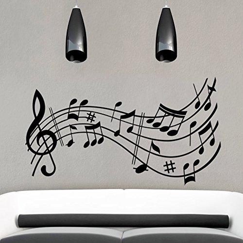 vinilo decorativo de notas musicales. Color negro. Medidas: 100x55cm