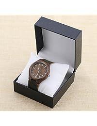 Correa de cuero del reloj de madera estilo retro de la manera del arte simple reloj masculino del reloj de madera