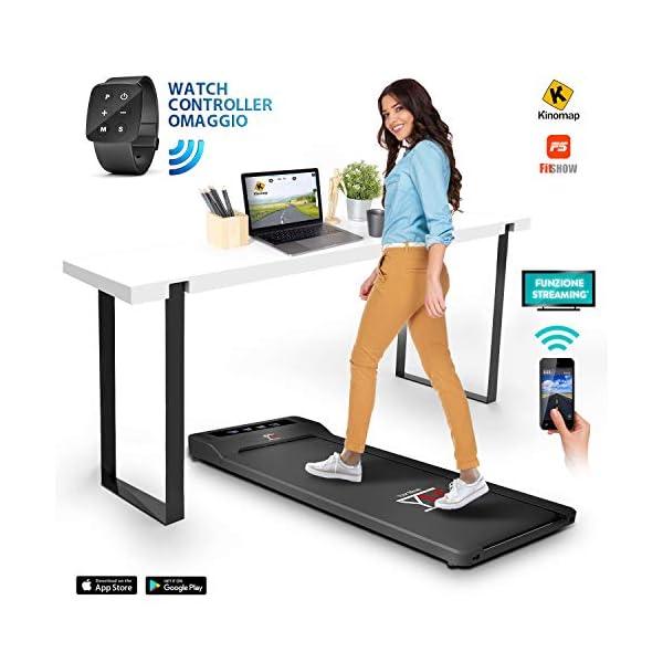 YM Tapis Roulant Elettrico Walking Pad Scrivania App KINOMAP e FITSHOW, Orologio Telecomando Watch Controller… 3 spesavip