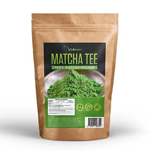 Matcha Tee 130g – Natürlich - Ohne Zusatzstoffe - 100{f0a553bff42516dd49fe186dbed00a4d8245a9f81270e80185f94296306fd5f9} Matcha - Im wiederverschließbaren Zippbeutel - Premium Qualität - Vit4ever