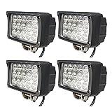 BRIGHTUM 4 X 45W LED Offroad Arbeitsscheinwerfer weiß 12V 24V Reflektor worklight Scheinwerfer Arbeitslicht SUV UTV ATV Arbeitslampe Traktor Bagger LKW KFZ (4 Stück)