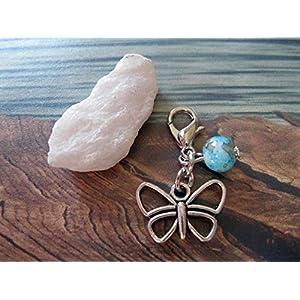 Handmade Anhänger/Charm Schmetterling, Perle Türkis/Braun meliert- Perlen Farbe und Größe frei wählbar