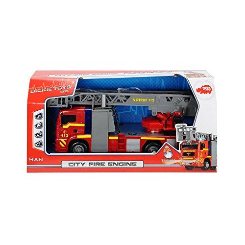 Dickie Toys 203715001 – City Fire Engine, Feuerwehrauto mit manueller Wasserspritze, 31 cm - 2