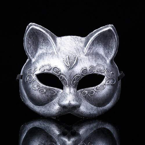 Maske Wolf Silver Kostüm - MASKUOY Halloween-Maske Cosplay Kostüm Halloween Killer Mask Maske Retro Fuchs Maske Horror Männlich/Weiblich Maske