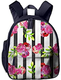 Floral Vertical Stripe Double Zipper Waterproof Children Schoolbag with Front Pockets For Teens Boy Girl
