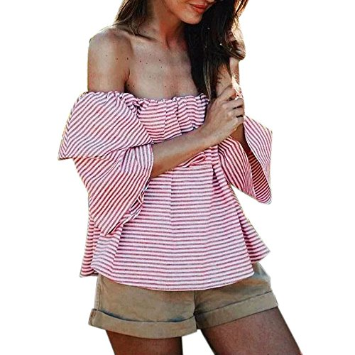 Culater® Femmes Ruffled Off épaule Hauts Casual Blouse été T Shirt Rouge