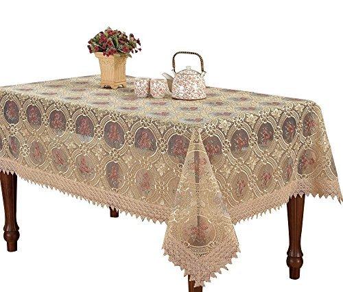 Custom Vintage Beige Tischdecke Leinen bestickte Blumen Muster transluzent Gaze, Leinen, beige, Rectangle 60